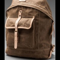 WILL Leather Goods Wax Coated Canvas Dome Backpack in Beige