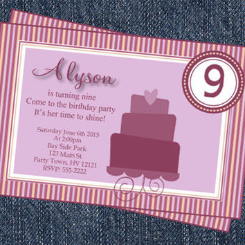 Purple Cake Girl-1st-2nd-3rd-4th-5th-6th-7th-8th-9th-Birthday Invitation Kids Party Invite-Girl Printable Invitations Cheap Invitations