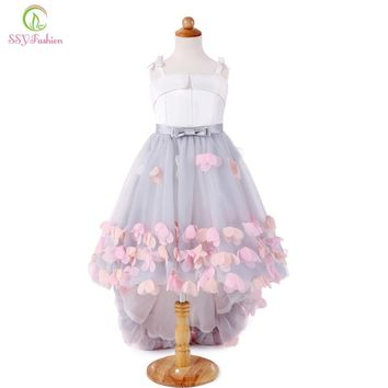 New Sweet Flower Girl Dresses for Wedding Short Front Long Back Satin with Tulle Appliques Straps Party Gown