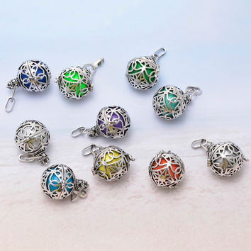 10Pcs Antique Silver Pregnancy Ball Sound Ball Silver Cage Pendant For Women Gift