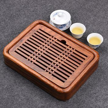 ESBU3C Luxury Small Kung Fu Tea tea set with water tray Solid Rosewood tea tray traditional Chinese tea tray wood 27*20cm