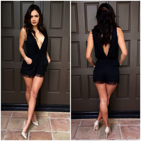 City Chic Lace Romper - Black