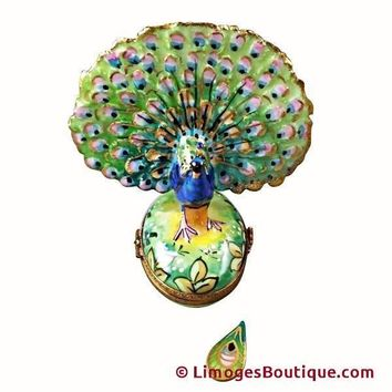 PEACOCK WITH REMOVABLE FEATHER LIMOGES BOX