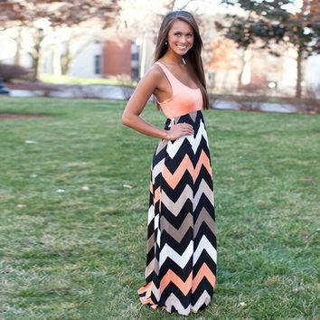 Apricot Wave Print Sleeveless Empire Dress