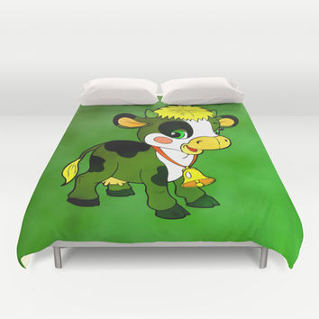 Childhood Cow Duvet Cover by Texnotropio