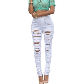 High Quality Fashion Sexy Cotton Denim Skinny Pants High Waist Jeans Leggings Trousers With Ripped Hole Cut-Out