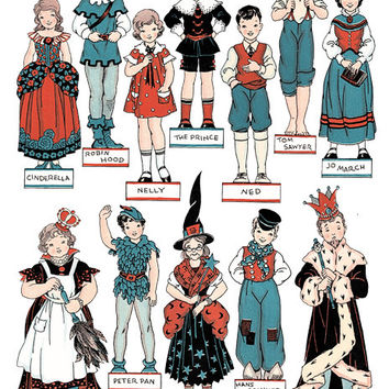 1930s theatre costumes paper doll printable digital graphics download cutouts childrens craft images fairytale characters