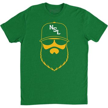 NSL Beard League Men's T-Shirt Kelly Green/Yellow