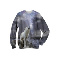 Stars Lie Hidden In Your Soul (Wolf Howl Galaxy) Unisex Sweatshirt created by soaringanchordesigns | Print All Over Me