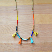 Red, Cobalt Blue and Turquoise Beaded Necklace with Yellow and Orange Tassels | Boo and Boo Factory - Handmade Leather Jewelry