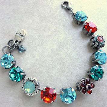 swarovski crystal tennis bracelet, 11mm  gypsy colors, turquoise and padparadscha,, better than Sabika