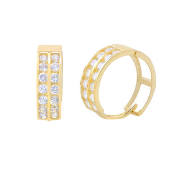 14k Yellow Gold Huggie Hoop Earrings Two Row Cubic Zirconia 12mm