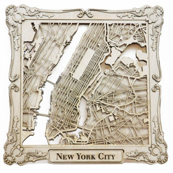 """New York City Laser Cut Wood Map With Scroll Frame- 10"""""""