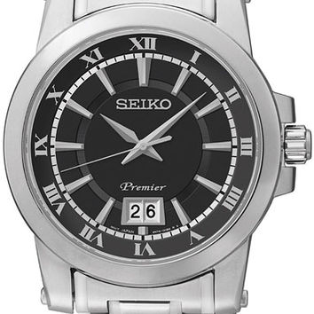 Seiko Premier Black Dial Stainless Steel Mens Watch SUR015