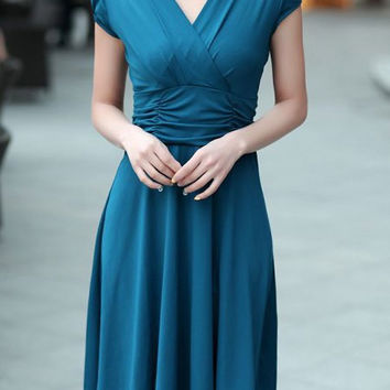 Blue Ruched V-Neck Dress