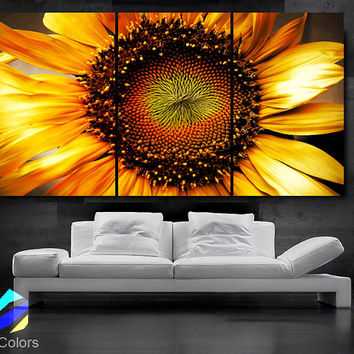 "LARGE 30""x 60"" 3 Panels Art Canvas Print beautiful Sunflower Floral Flower Yellow Wall Home decoration (Included framed 1.5"" depth)"