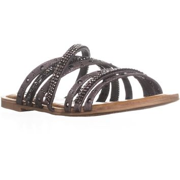 Not Rated Caviar Strappy Slide Sandals, Pewter, 8.5 US / 40 EU