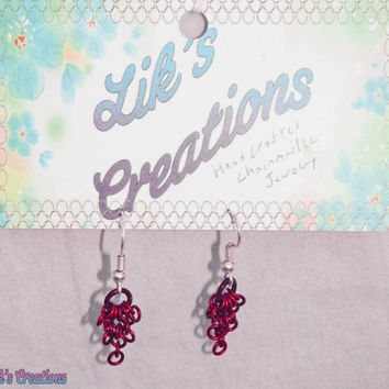 Tiny Cascade Earrings - Red