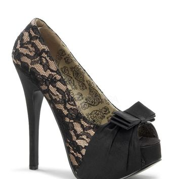 Bordello Black Lace Slip On Platform Pumps
