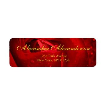 Red Rose Photo with your Name Address Label
