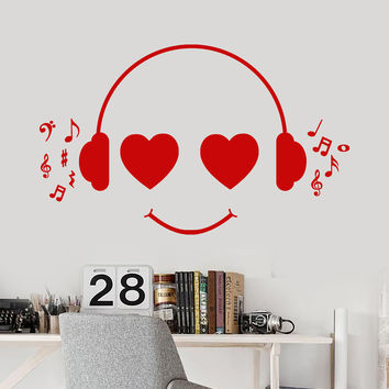 Vinyl Wall Decal Positive Cheerful Music Lover Smiley Headphones Stickers Unique Gift (891ig)