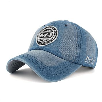 Snap-back Denim Baseball Cap Jean Badge Embroidery Hat for Men and Women