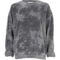 Grey tie dye brushed oversized sweatshirt - sweaters / hoodies - t shirts / tanks / sweats - women