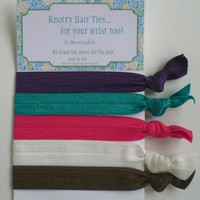 No Tug Hair Ties Set of 5 Elastic Knotty Hair Ties Jewel Tones