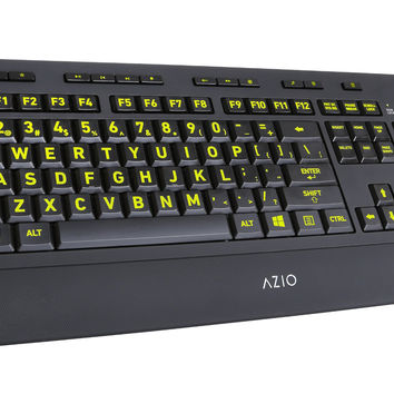 Azio Vision Backlit USB Keyboard with Large Print keys and 5 Interchangeable Backlight Colors (KB506) - Wired 5 Color