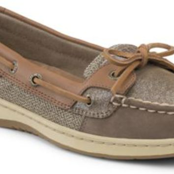 Sperry Top-Sider Angelfish Sparkle Suede 2-Eye Boat Shoe Greige/LightTanSparkleSuede, Size 6M  Women's Shoes