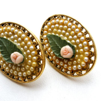 Rose Pearl Earrings, 1928 Co. Porcelain Roses, Vintage Earrings, Pierced Earrings, Wedding Jewellery, Fashion Jewelry, Flower Earrings