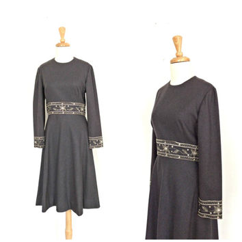 Vintage Gray Dress - wool dress - beaded party dress - 70s dress - M L