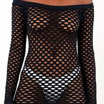 You Bet Fishnet Mesh Cut Out Long Sleeve Off The Shoulder Bodycon Casual Mini Dress - 3 Colors Available
