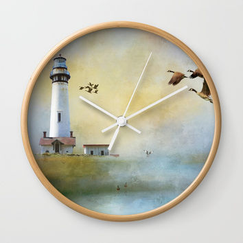 Lighthouse Bay II Wall Clock by Theresa Campbell D'August Art