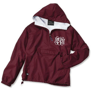 Youth Maroon Monogrammed Personalized Half Zip Rain Jacket Pullover by Charles River Apparel
