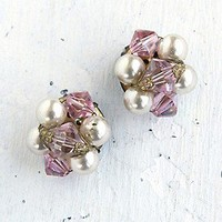 Free People  Vintage Costume Pearl and Crystal Bead Earrings at Free People Clothing Boutique