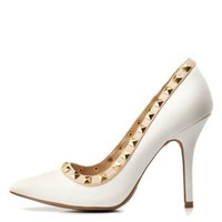 White Studded Pointed Toe Pumps by Charlotte Russe