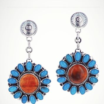 Sunwest Jewelry~ Santa Fe Style Kingman Turquoise and Spiny Oyster Earrings