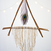 Wooden Prayer Triangle  - Bohemian Wall Hanging Dream Catcher Hope Faith Courage Holy Triangle Tribal John of God Prayer Feathers Boho