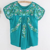 Folk Style Colourful Flowers Embroidery Shirt