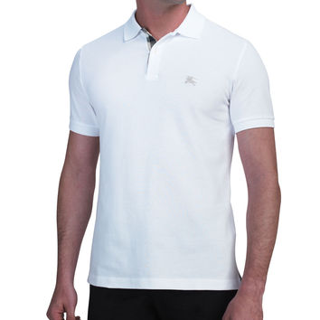 Modern-Fit Logo Polo, White, Size: