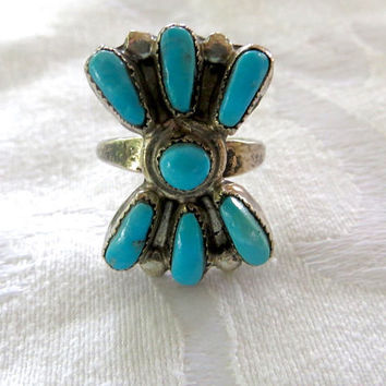 Vintage Zuni Ring, Sterling Turquoise Petit Point Ring, Native American Old Pawn Jewelry