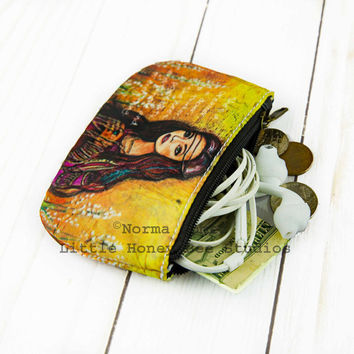 Gypsy Coin Purse, Bohemian Change Purse, Small Zipper Pouch, Credit Card Holder, Gypsy Art, Bohemian Bag, Hippie Art, Small Gifts for Her