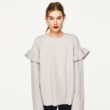SOFT SWEATSHIRT WITH FRILLS DETAILS