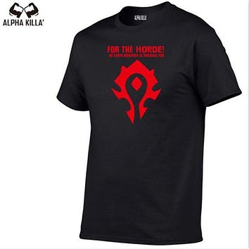 Europe Size Mens Casual clothes Wow World of Warcraft Horde Symbol Men Gift 100% Cotton T Shirt Mens Hip hop Skate Tshirt Tops