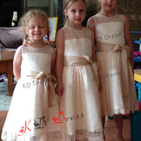 ON SALE !!! Custom-Make Flower Girl Dress/ Light champagne Lace and Ivory lining  with champagne sash/bow(Z1025)