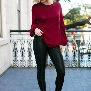 Textured and Fine Black Faux Leather Leggings