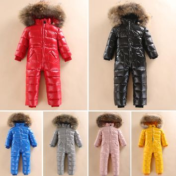 -30 Winter Snowsuit Baby 80% duck Down Romper Outdoor Infant Overcoat Clothes Girls Overall for Boys Kids Jumpsuit 2~5Y