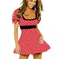 Cosplay Adult Minnie  Costume Free Shipping Red and White Dots Minnie Mouse Halloween Costume