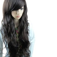 MelodySusie® Black Long Curly Wig - High Quality Fascinating Women Long Curly Wig with Free Wig Cap and Wig Comb (Black)